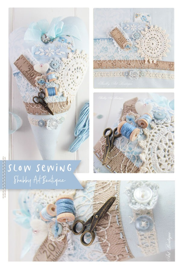 Slow sewing a handmade heart project by Shabby Art Boutique