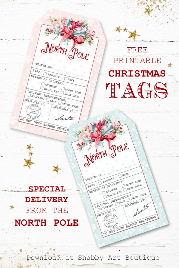 Special Delivery North Pole Christmas Tags - free to download from Shabby Art Boutique