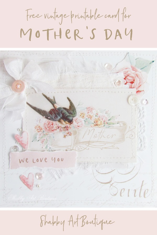 Vintage Mothers day card printable from Shabby Art Boutique