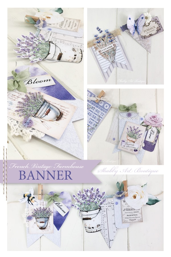 A French vintage farmhouse banner made using the Janaury 2020 Handmade Club kit from Shabby Art Boutique