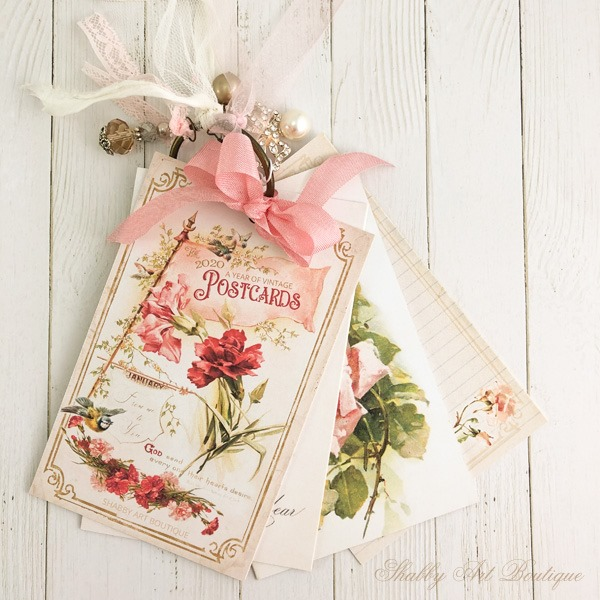 A Year of Vintage Postcards - A free printable year long project from Shabby Art Boutique