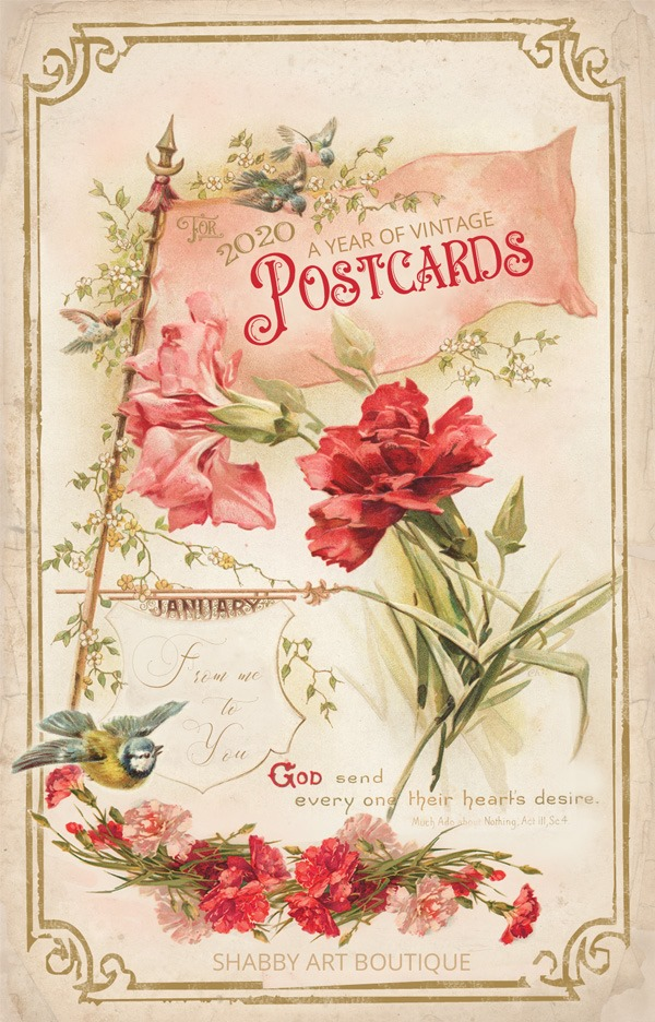 A Year of Vintage Postcards that are free to print and keep from Shabby Art Boutique