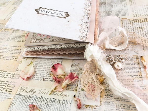A sweet printable vintage birthday calendar book by Shabby Art Boutique - cover and ribbon ties