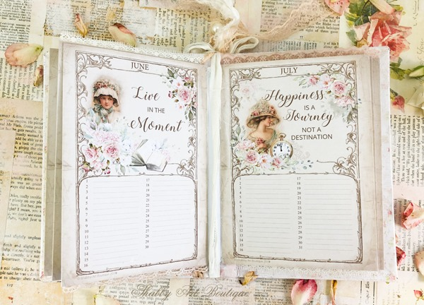 A sweet printable vintage birthday calendar book by Shabby Art Boutique - inside pages