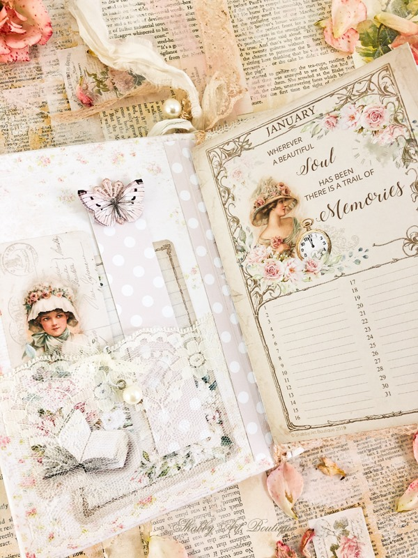 A sweet printable vintage birthday calendar book by Shabby Art Boutique - lace pockets