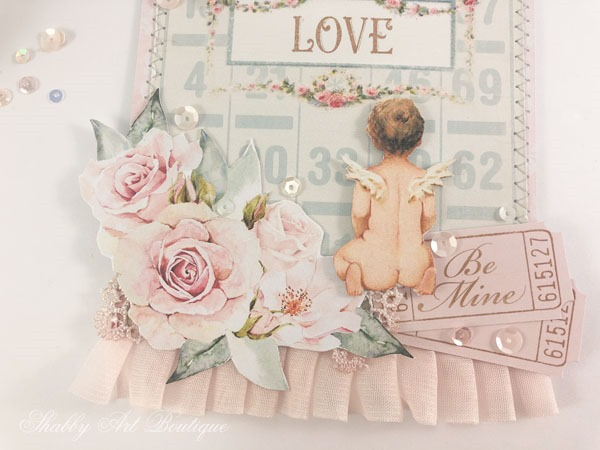 Free printable vintage Valentine pocket tag by Shabby Art Boutique - close up