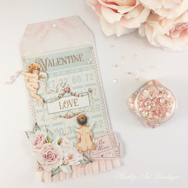 Free printable vintage Valentine pocket tag by Shabby Art Boutique - step 2