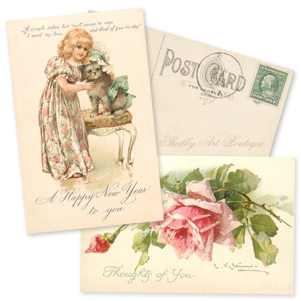 Free printable vintage postcards to download every month in 2020 from Shabby Art Boutique