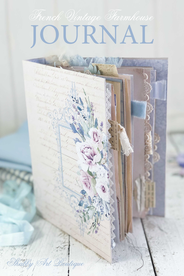This week I created this pretty blue and mauve French vintage farmhouse journal using the January kit from the Handmade Club. Click here if you'd like to see all of the items that are included in this French Vintage Farmhouse kit from Shabby Art Boutique