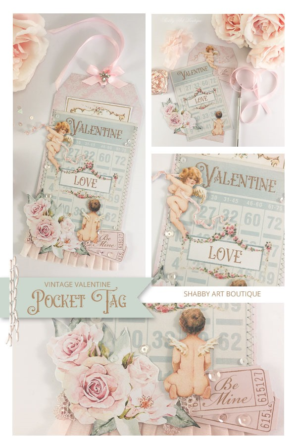 How to make a Vintage Valentine Pocket Tag with free printable from Shabby Art Boutique