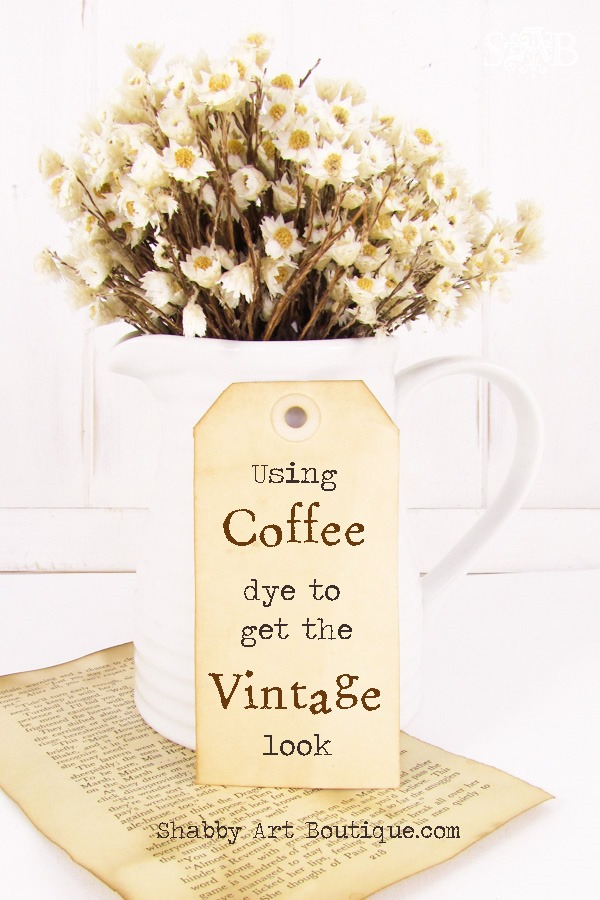 Using coffee dye to get the vintage look on paper and fabric by Shabby Art Boutique