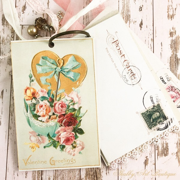 A year of vintage postcard printables from Shabby Art Boutique - February postcard 2
