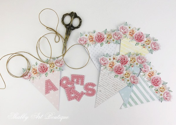 DIY - Pastel Easter banner from the Handmade Club February kit at Shabby Art Boutique