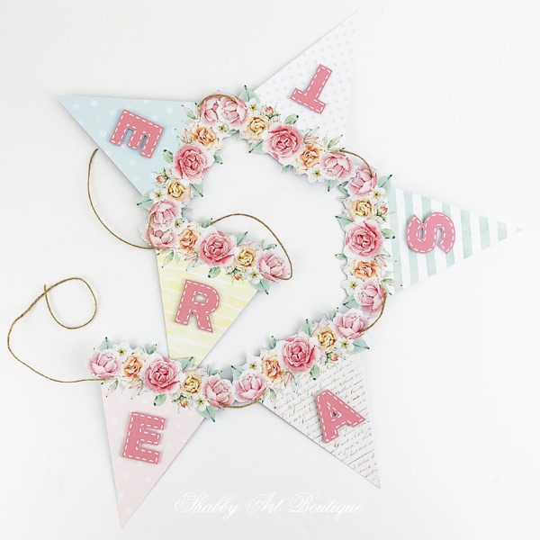 DIY - Pretty pastel Easter banner from the Handmade Club February kit at Shabby Art Boutique