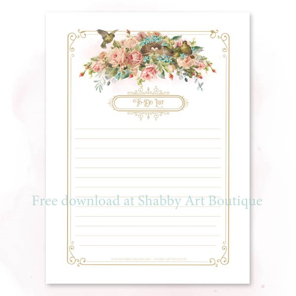 Download this free vintage printable To-Do List from Shabby Art Boutique