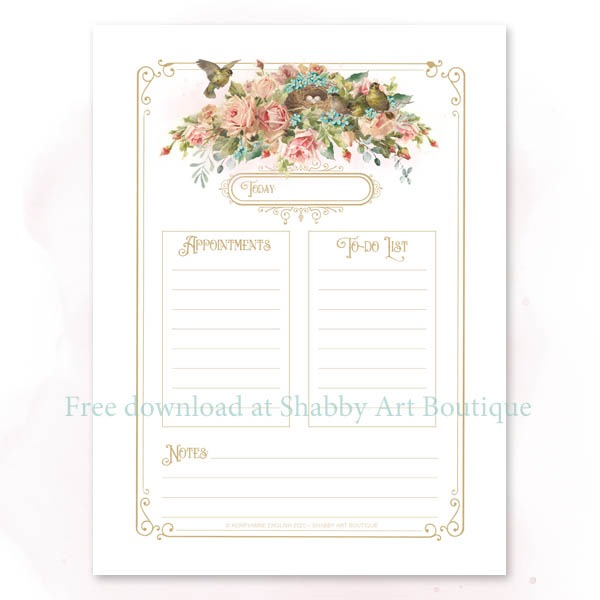 Download this free vintage printable daily planner from Shabby Art Boutique