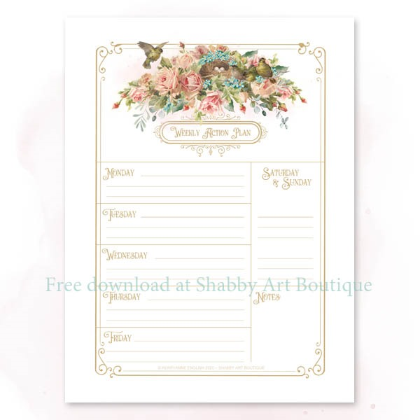 Download this free vintage printable weekly planner from Shabby Art Boutique