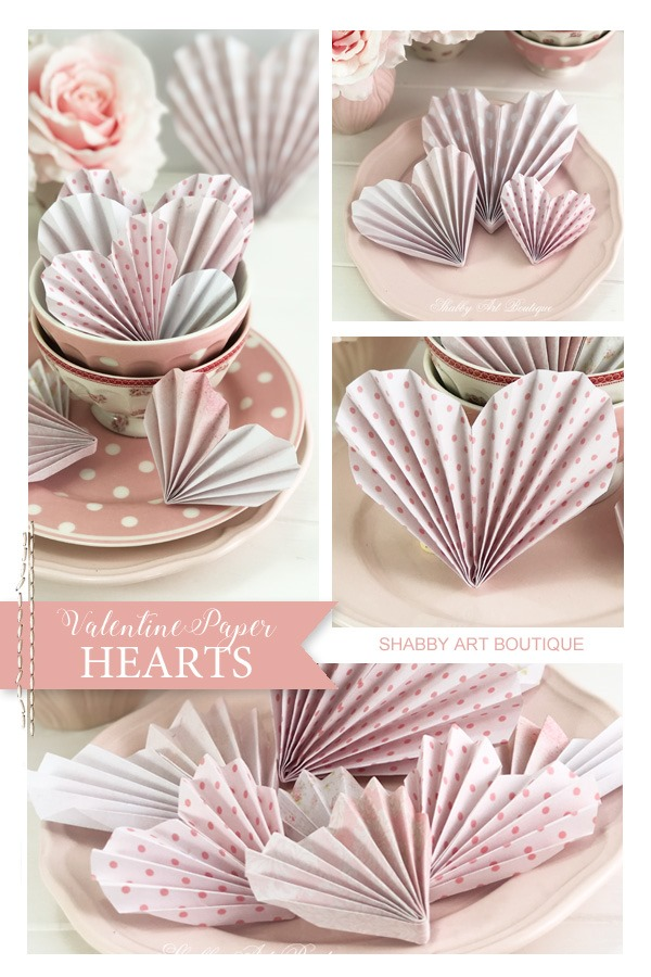 Easy to make Valentine paper hearts tutorial by Shabby Art Boutique