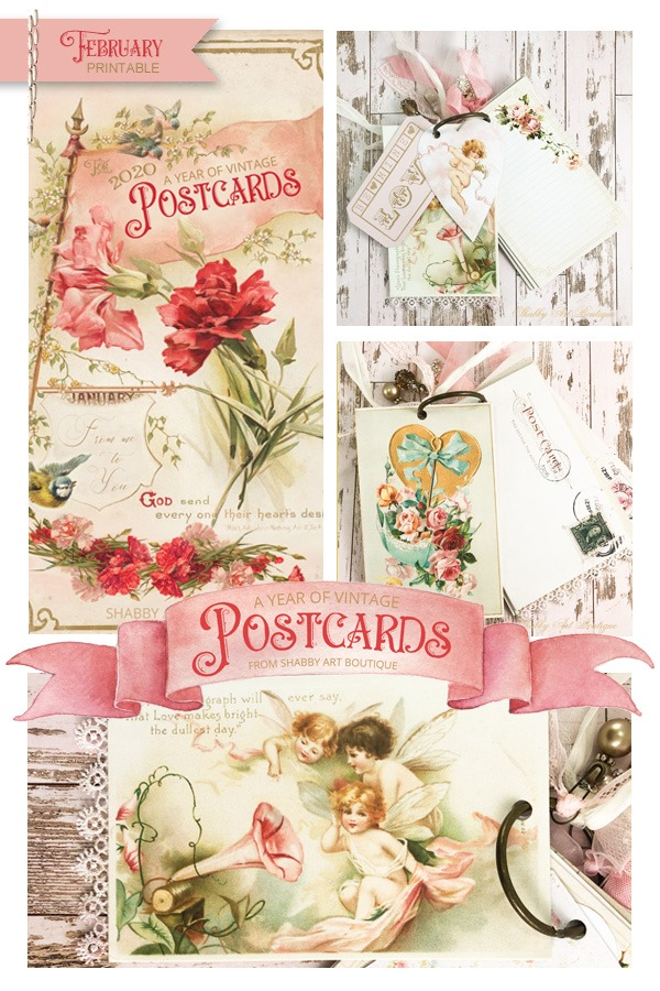 February printable for 'A Year of Vintage Postcards' free project at Shabby Art Boutique
