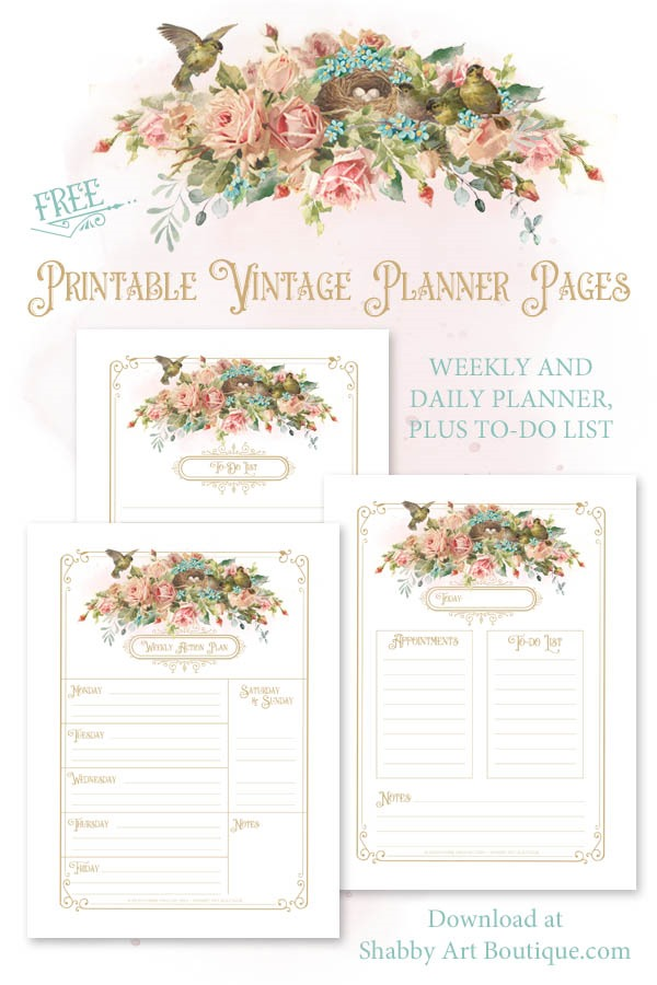 Free printable vintage planner pages by Shabby Art Boutique - Click now to download or save for later
