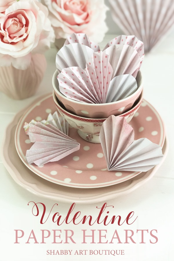 How to make easy paper hearts for Valentines day by Shabby Art Boutique