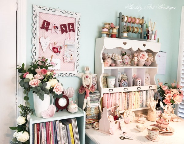 It's the season of love in the February craft room and it is filled with Valentines decor at Shabby Art Boutique