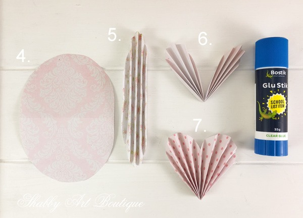 Valentine Paper Hearts Tutorial - step 2 - from Shabby Art Boutique
