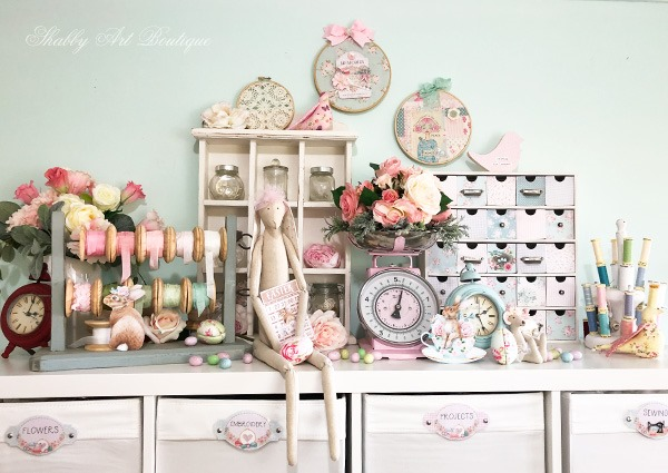 An Easter filled craft room at Shabby Art Boutique