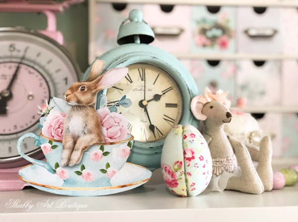 Enjoying a pretty pastel colour palette for Easter in the craft room at Shabby Art Boutique