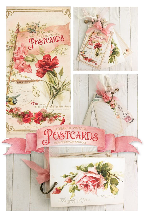 Free 2020 printable project - A Year of Vintage Postcards - from Shabby Art Boutique