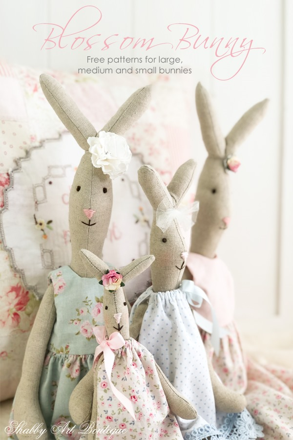 Free patterns and instructions for the 3 sizes of Blossom Bunny by Shabby Art Boutique