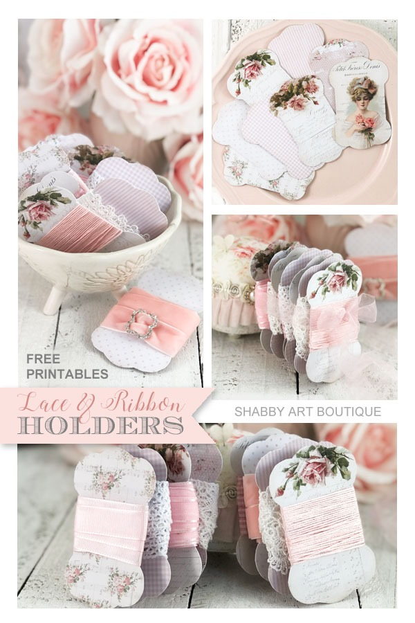Free printable lace and ribbon holders and a tutorial from Shabby Art Boutique