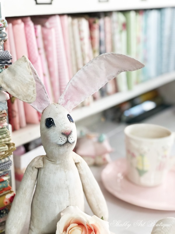 Hand painted bunnies for Easter in the Shabby Art Boutique craft room