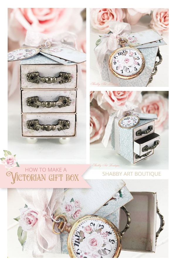 How to make a pretty Victorian gift box with drawers - tutorial by Shabby Art Boutique
