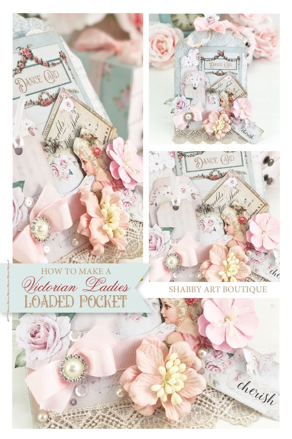 How to make this beautiful Victorian Ladies Loaded Pocket with a printable from Shabby Art Boutique