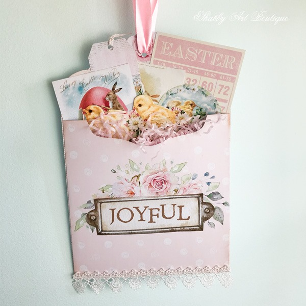 Joyful large pocket tag for Easter - Shabby Art Boutique craft room