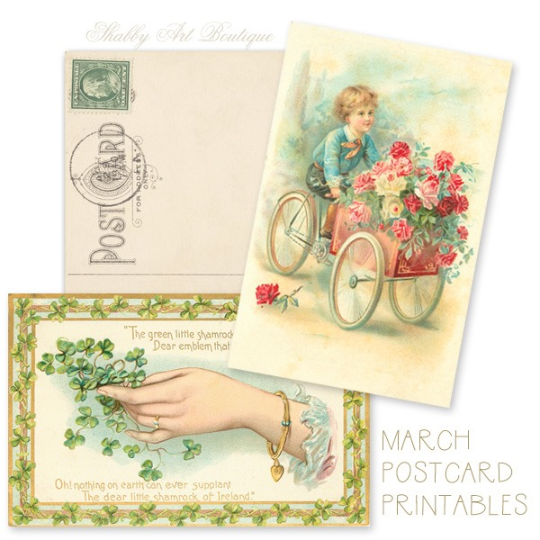 March postcard printables for A Year of Vintage Postcards from Shabby Art Boutique