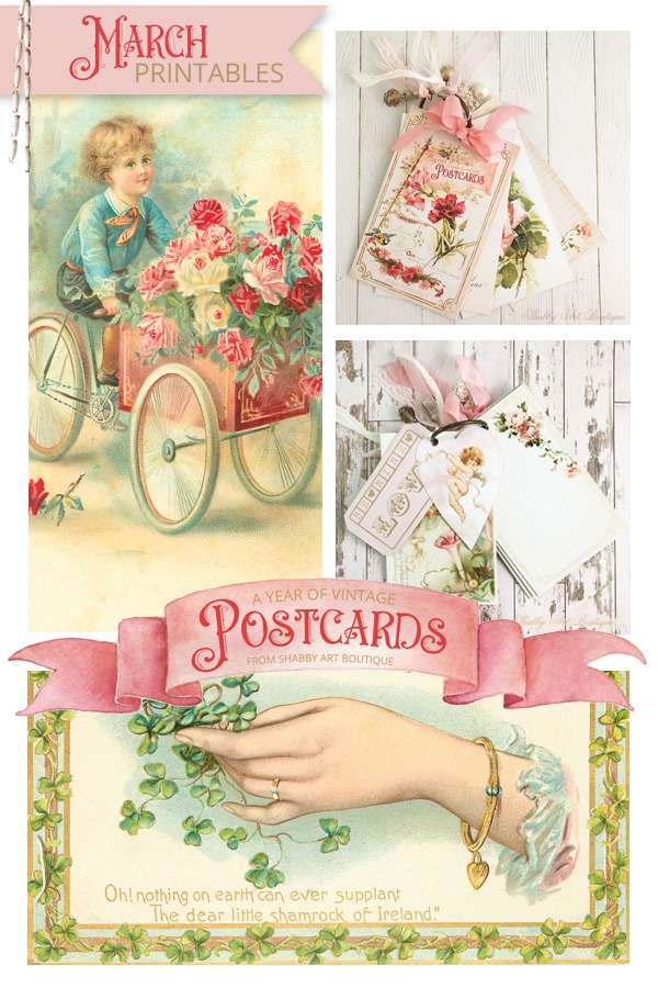 March postcard printables for A Year of Vintage Postcards project from Shabby Art Boutique