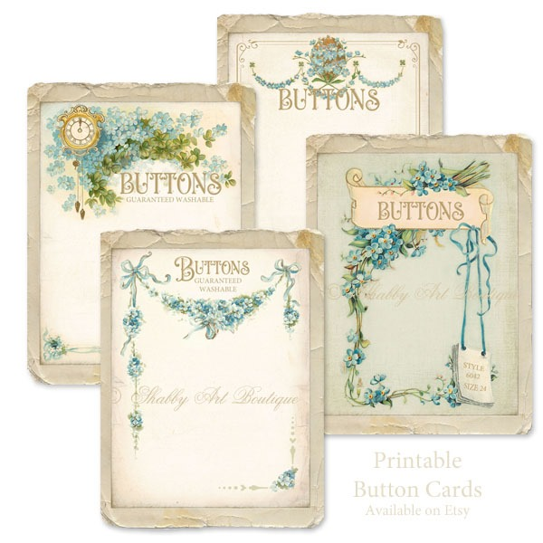 Printable Victorian Button Cards by Shabby Art Boutique and available from Etsy