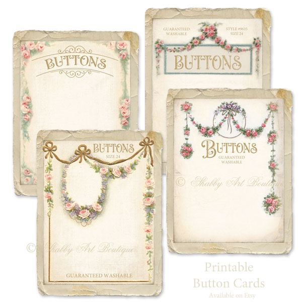 Printable Victorian Button cards - Pink- by Shabby Art Boutique and available on Etsy