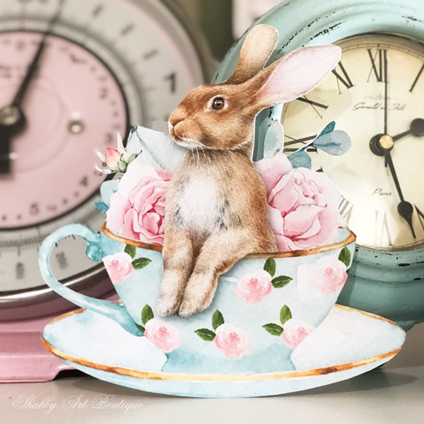 Sweet bunny teacup from the Handmade Club February Kit at Shabby Art Boutique