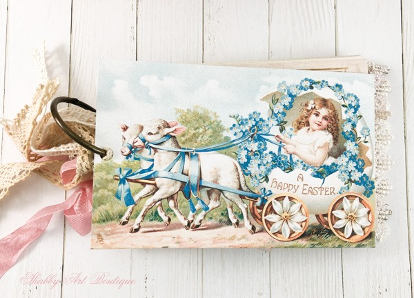 A Year of Vintage Postcards Project - April - Easter 2 - free postcard printables at Shabby Art Boutique