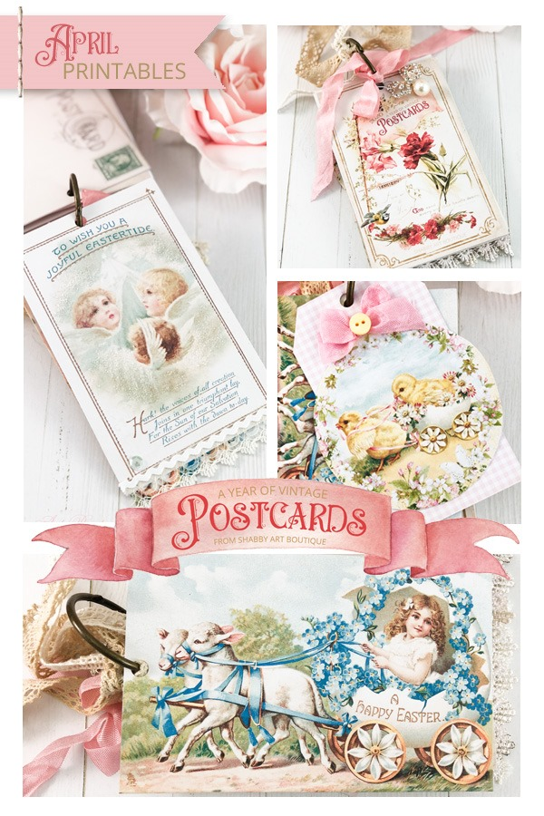 A Year of Vintage Postcards Project - April free postcard printables at Shabby Art Boutique