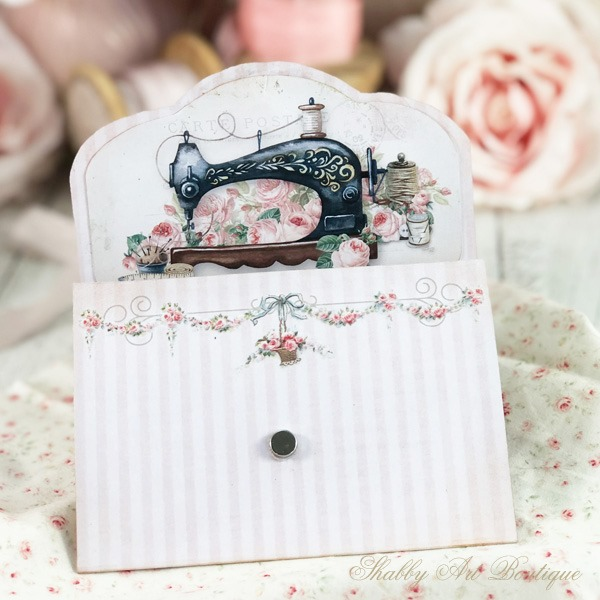 A cute little needle pouch made from a printable - April in the Handmade Club at Shabby Art Boutique