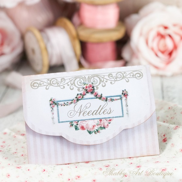 A quick and easy little needle pouch made from a printable - April in the Handmade Club at Shabby Art Boutique
