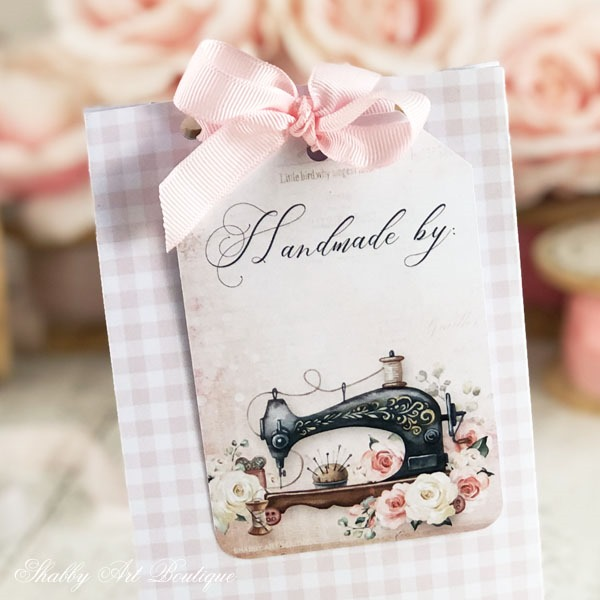 Close up of free printable Handmade tag from Shabby Art Boutique