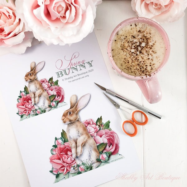 Free printable bunny from Shabby Art Boutique