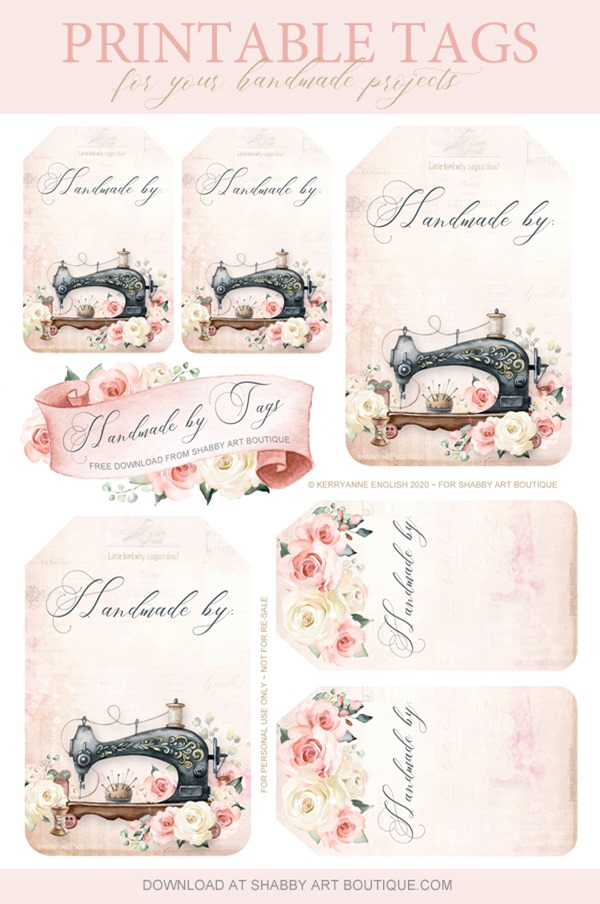 Free to download - printable tags for your handmade projects from Shabby Art Boutique