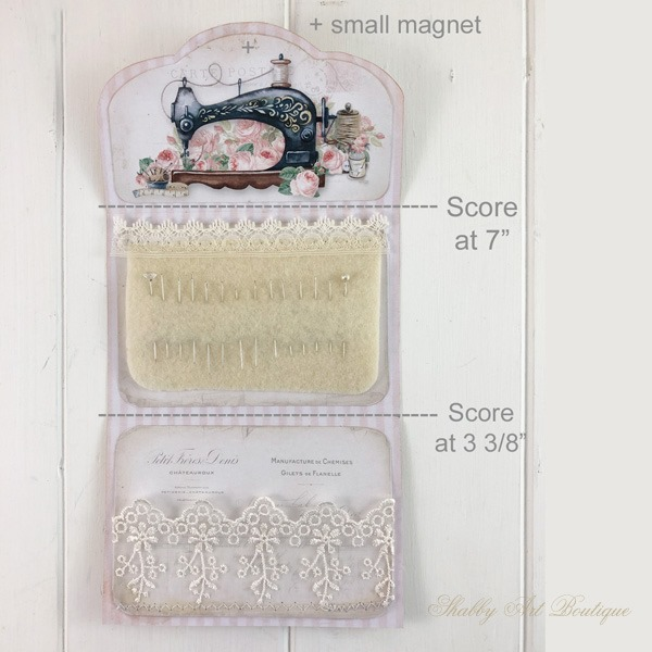 How to make this cute little needle pouch from a printable - April kit in the Handmade Club at Shabby Art Boutique