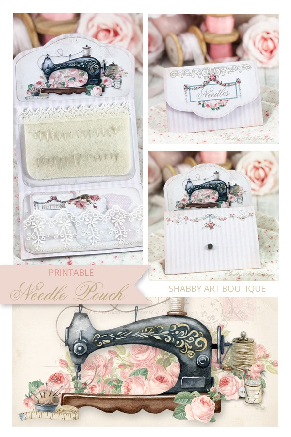 How to make this sweet little needle pouch from a printable - Shabby Art Boutique
